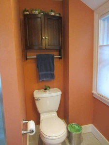 on left the toilet's hidden behind the shower stall