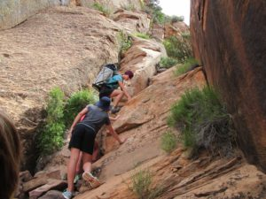 Canyoneering steep climb